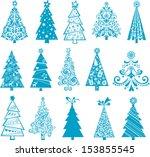 Set Of Christmas Blue Trees...