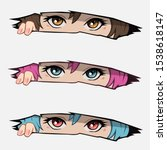 Anime Eyes Looking From A Pape...