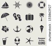 summer icons.vector   Shutterstock .eps vector #153863927