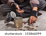 Beggar Child Counting Coins...