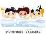 boys taking a bath   vector | Shutterstock .eps vector #15386863