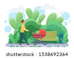 single father with pram flat...   Shutterstock .eps vector #1538692364