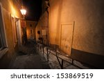 night street in old town of... | Shutterstock . vector #153869519