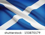 scottish flag blowing in the...
