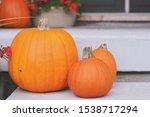 Orange Pumpkins On A Front...