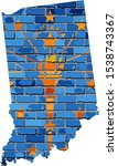 Indiana Map On A Brick Wall  ...