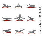 airplane set. vector  | Shutterstock .eps vector #153878477