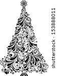 graphic elegant christmas tree... | Shutterstock .eps vector #153888011