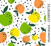 apple fruit seamless pattern ... | Shutterstock .eps vector #1538958731