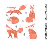 set of cute foxes isolated on...   Shutterstock .eps vector #1538963351
