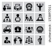 vector black business icon set... | Shutterstock .eps vector #153897011