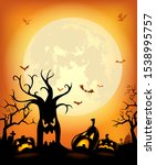 halloween background with... | Shutterstock .eps vector #1538995757