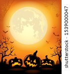 halloween background with... | Shutterstock .eps vector #1539000047