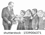 Children Presenting Flowers To...
