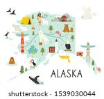 alaska illustrated map with... | Shutterstock .eps vector #1539030044