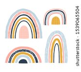 abstract rainbows hand drawn... | Shutterstock .eps vector #1539065504