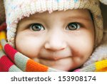 cute baby with scarf   Shutterstock . vector #153908174