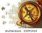 Puzzle Antique Brass Compass...