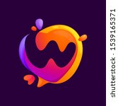 w letter at colorful speech... | Shutterstock .eps vector #1539165371