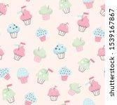 Cupcake Vector Pattern. Hand...