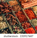 Variety Of Spices In An Old...