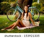 portrait of pretty pinup girl... | Shutterstock . vector #153921335