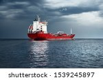 Large Red Cargo Ship With Crane ...