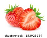 isolated strawberries. two cut... | Shutterstock . vector #153925184