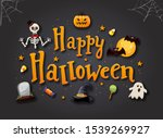 halloween typography with icon. ... | Shutterstock .eps vector #1539269927