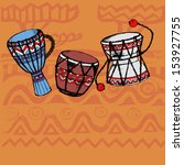 hand drawn african wooden  drum | Shutterstock .eps vector #153927755