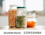 glass jars with beans in the... | Shutterstock . vector #1539334484