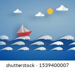 Origami Red Boat On The Sea...