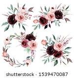set watercolor flowers painting ...   Shutterstock . vector #1539470087