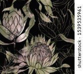 pink and green flower pattern.... | Shutterstock . vector #1539535961