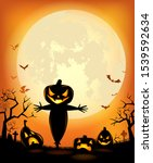 halloween party poster with... | Shutterstock .eps vector #1539592634