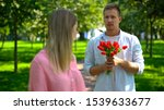 Man In Love Holding Bunch Of...