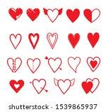 set of hand drawn heart....   Shutterstock .eps vector #1539865937