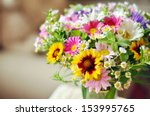bouquet of simple flowers on... | Shutterstock . vector #153995765
