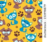 seamless pattern with cute... | Shutterstock .eps vector #153998879