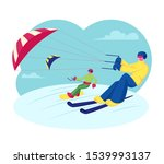 snowboarder and skier with kite ... | Shutterstock .eps vector #1539993137