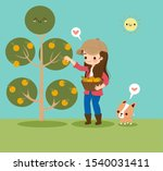 cute girl gathering oranges in... | Shutterstock .eps vector #1540031411