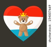 Teddy Bear with crown and heart with flag of Luxembourg on the background. The file is made with no transparencies and gradients.