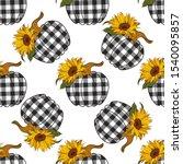 sunflowers plaid pumpkin... | Shutterstock .eps vector #1540095857