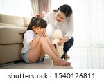 Small photo of mother quell on worry and upset of kid daughter