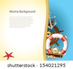 marine background with sailor... | Shutterstock .eps vector #154021295