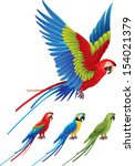 macaw parrot spread wings and... | Shutterstock .eps vector #154021379