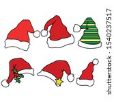 christmas santa claus hats with ... | Shutterstock .eps vector #1540237517