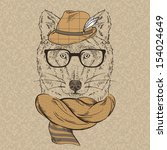 Portrait Of Wolf Hipster In Ha...