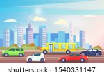 busy traffic road with colorful ... | Shutterstock .eps vector #1540331147