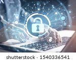 Small photo of Digital cybersecurity and network protection. Virtual locking mechanism to access shared resources. Interactive virtual control screen. Protect personal data and privacy from cyberattack and hacker